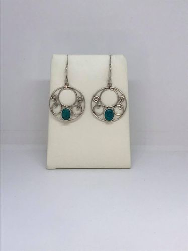 Turquoise Large Circle 925 Silver Earrings