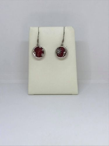 Coral Sun & Moon Casting 925 Silver Earrings