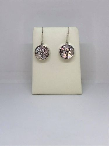 Mother Of Pearl Large Tree Of Life 925 Silver Earrings