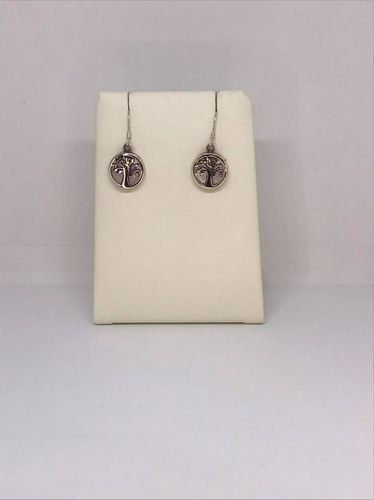 Mother Of Pearl Small Tree Of Life 925 Silver Earrings