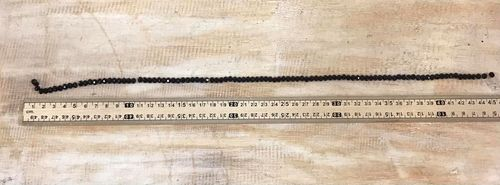 4mm x 6mm Black Glass Crystal Beads 40cm string . 100 beads.